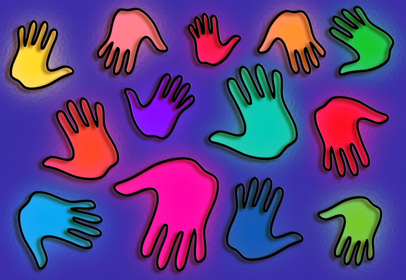 Colourful stained glass hands
