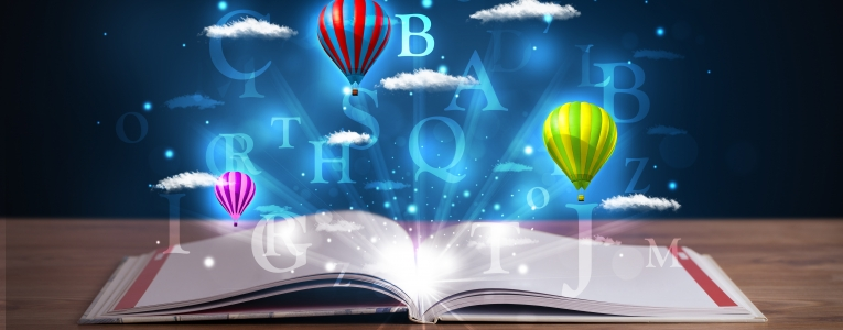 Balloons and clouds rising from book inspirational